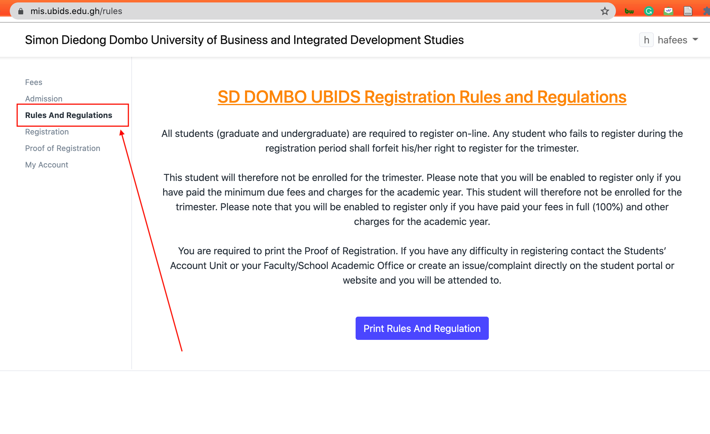 Registration Password reset_UBIDS